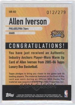 2005-06 Topps Luxury Box - Industry Anchors Relics #IAR-AI2