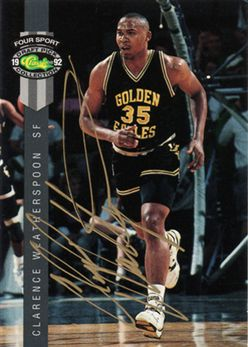1992 Classic Four Sport Autographs #25A Clarence Weatherspoon Gold Ink