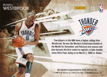 41b28e8505fb11 2009-10 Prestige Playmakers Signatures 11 Russell Westbrook