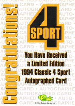 1994 Classic Four Sport Autographs #36 Andrei Fetisov