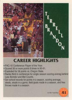 1991 Front Row 41 Terrell Brandon