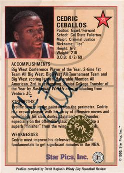 1990 Star Pics Autographs #23 Cedric Ceballos