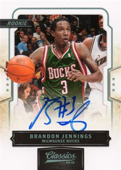 2009-10 Classics 168 Brandon Jennings RC AU