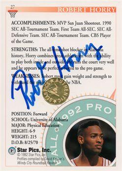 1992 Star Pics Autographs #27 Robert Horry