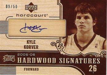 2005-06 Upper Deck Hardcourt Hardwood Signatures #KK Kyle Korver/50