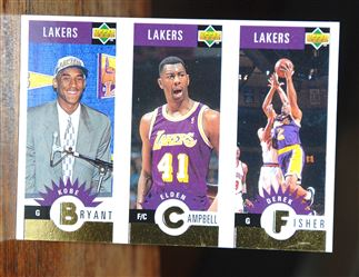 1996-97 Collector's Choice Los Angeles Lakers #L1 Kobe Bryant-Elden Campbell-Derek Fisher