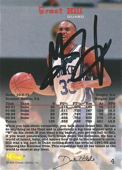 1994 Classic #4 Grant Hill (Signed in Person)