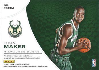 2016-17 Limited Rookie Phenoms Jersey Autographs Prime #35 Thon Maker/39 (Bucks)