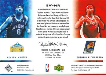 2004-05 Upper Deck East Coast West Coast #MR Kenyon Martin/Quentin Richardson