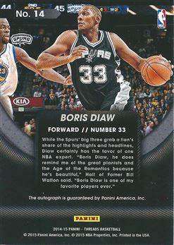 2014-15 Panini Threads View Autographs #14 Boris Diaw