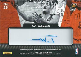 2014-15 Panini Threads Rookie View Autographs #25 T.J. Warren