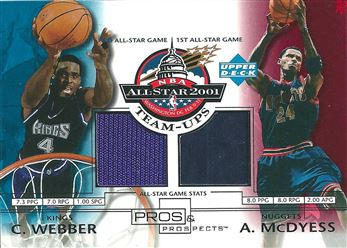 2001-02 Upper Deck Pros and Prospects All-Star Team-Ups #CWAM Chris Webber/Antonio McDyess (Kings/Nuggets)