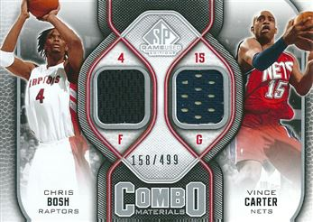 2009-10 SP Game Used Combo Materials #CMCB Chris Bosh/Vince Carter