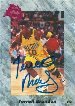 1991 Classic Four Sport #154 Terrell Brandon (Signed in Person)