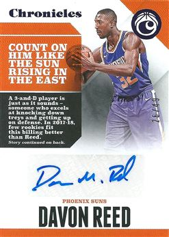 2017-18 Panini Chronicles Autographs Purple #13 Davon Reed /49 (Suns)