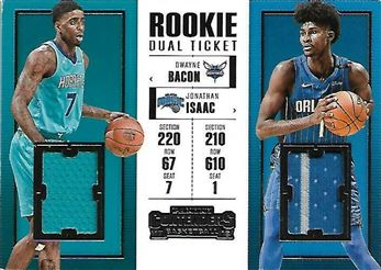 2017-18 Panini Contenders Rookie Ticket Dual Swatches #11 Jonathan Isaac/Dwayne Bacon (Magic/Hornets)