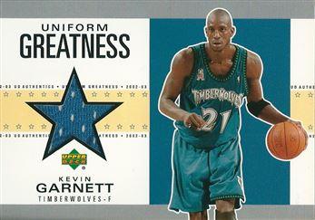 2002-03 UD Authentics Uniform Greatness #KGU Kevin Garnett (Timberwolves)