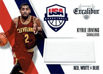 2014-15 Panini Excalibur Red White and Blue Jerseys #9 Kyrie Irving
