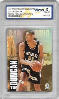 1997 Score Board Draft Day #1A Tim Duncan (Graded WCG 10)