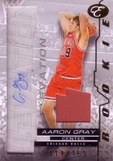 Aaron Gray 07/08 Bowman Elevation Rookie Writings Relics RWAG (18/169)