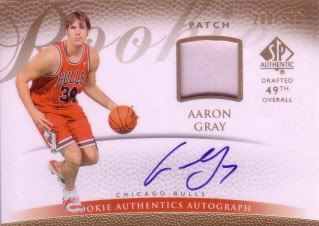 Aaron Gray 07/08 SP Authentic Jsy/Auto RC 148 (200/599)