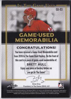 15-16 Leaf In The Game Used Memorabilia Gold # GU-03 (8/20)