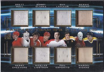 2016-17 In The Game Used Fantasy Team 8's Gold #FT8-02 Brett Hull/Gerry Cheevers/Bobby Clarke/Nicklas Lidstrom/Guy LaFleur/Phil Esposito/Bernie ParentIMarcel Dionne (02-/15)