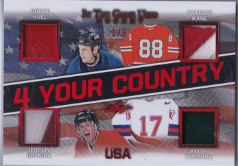 20-21 Leaf In The Game Used 4 Your Country #4YC-14 Brett Hull/Patrick Kane/Jeremy Roenick/Keith Tkachuk (2/3)