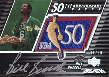 2007-08 UD Black 50th Anniversary Autographs #BR Bill Russell