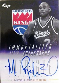 2013-14 Panini Intrigue Immortalized Autographs Gold #36 Mitch Richmond