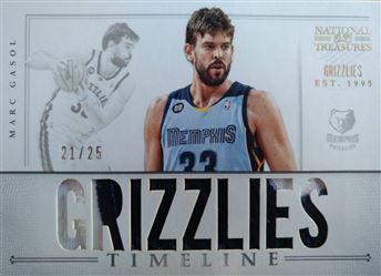 GASOL Marc 2012-13 Panini National Treasures Timeline Materials Custom Team Nicknames Prime # 25 (grizzlies)