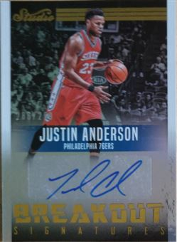 ANDERSON Justin 2016-17 Studio Breakout Signatures (76ers)