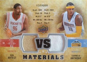 ANTHONY/ARTEST 2009-10 Upper Deck VS Dual Materials # VS-AA (rockets/nuggets)