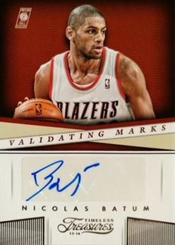 BATUM Nicolas 2013-14 Timeless Treasures Validating Marks # 34 (blazers)