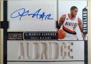 ALDRIDGE Lamarcus 2010-11 Playoff National Treasures Timeline Materials Custom Names Signatures # 25 (blazers)