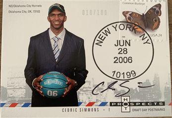 Cedric Simmons 06/07 Hot Prospects Draft Day Portraits Autorgraphs 010/100