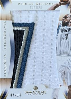 Derrick Williams 2012/13 Immaculate Collection Numbers Patches /14