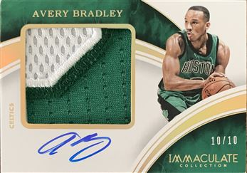 Avery Bradley 2015/16 Immaculate Collection Premium Autograph Patches Gold 10/10