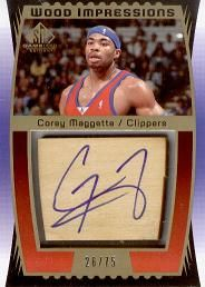 2004-05 SP Game Used Wood Impressions #CM Corey Maggette