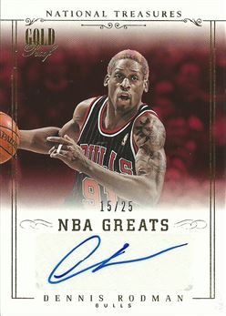 2013-14 National Treasures NBA Greats Signatures Gold #26 Dennis Rodman /25