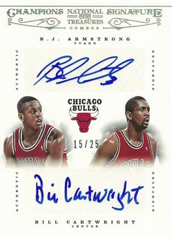 2012-13 Panini National Treasures Champions Signatures Combos #19 B.J. Armstrong/25/Bill Cartwright /25