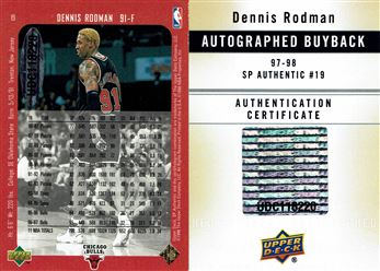 2013-14 SP Authentic Buyback Signatures #19 Dennis Rodman/1997-98 SP Authentic