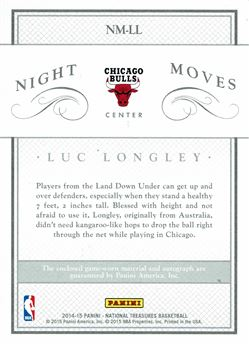 2014-15 Panini National Treasures Night Moves Jersey Autographs Prime #NMLL Luc Longley