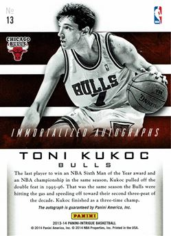 2013-14 Panini Intrigue Immortalized Autographs #13 Toni Kukoc