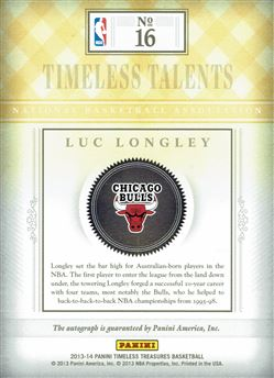 2013-14 Timeless Treasures Timeless Talents Sapphire #16 Luc Longley