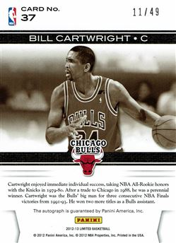 2012-13 Limited Spotlight Signatures #37 Bill Cartwright
