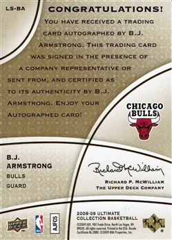 2008-09 Ultimate Collection Legendary Signatures #LSBA B.J. Armstrong