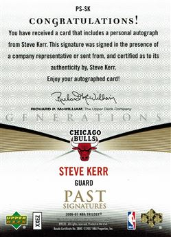 2006-07 Upper Deck Trilogy Generations Past Signatures #PSSK Steve Kerr