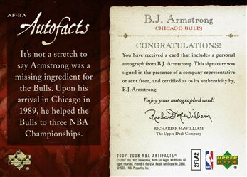 2007-08 Artifacts Autofacts #AFBA B.J. Armstrong