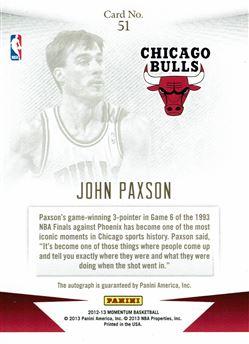 2012-13 Momentum Autographs Drive #51 John Paxson/49